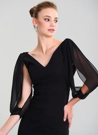 People By Fabrika Kolları Şifon Abiye Elbise Siyah